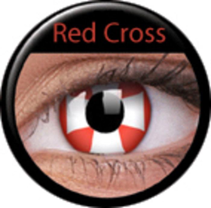 maxvue vision ColourVue Crazy čočky - Red Cross (2 ks roční) - nedioptrické