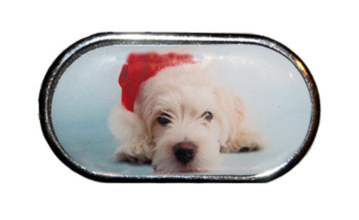 OPTIPAK LIMITED Pouzdro se zrcátkem Vánoční motiv - Dlouhosrsté štěně v čepici