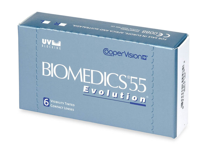 Cooper Vision Biomedics 55 Evolution (6 čoček) - výprodej skladu Dioptrie -3,75, Zakřivení 8.6